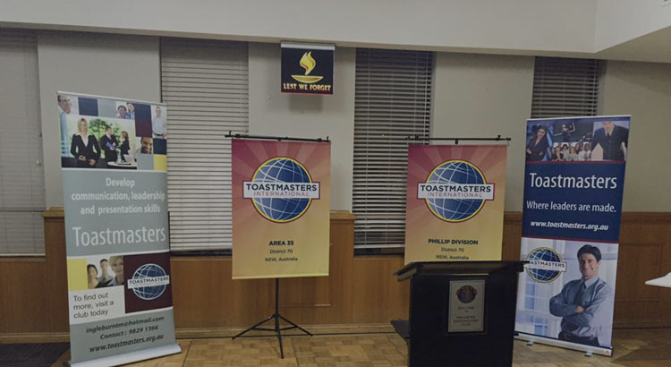 Ingleburn RSL | Affiliated Clubs - Toastmasters Pull Up Banners